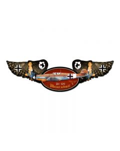 Messerschmitt, Aviation, Winged Oval Metal Sign, 10 X 35 Inches