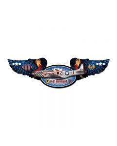 Mustang, Aviation, Winged Oval Metal Sign, 10 X 35 Inches