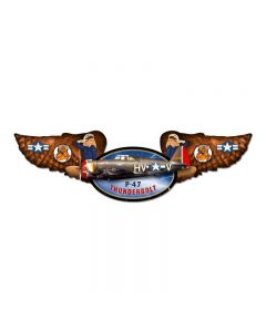Thunderbolt, Aviation, Winged Oval Metal Sign, 10 X 35 Inches