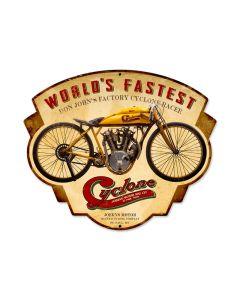 Cyclone, Motorcycle, Custom Metal Shape, 17 X 14 Inches
