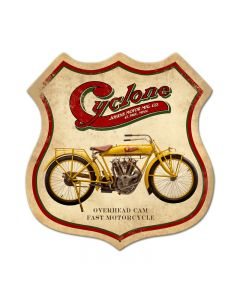 Cyclone, Motorcycle, Shield Metal Sign, 15 X 15 Inches
