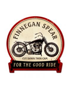 Finnegan Spear, Motorcycle, Round Banner Metal Sign, 15 X 16 Inches