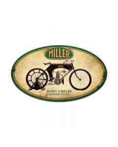 Miller Motorcycles, Motorcycle, Oval Metal Sign, 24 X 14 Inches