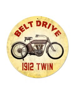Belt Drive 1912, Motorcycle, Round Metal Sign, 14 X 14 Inches