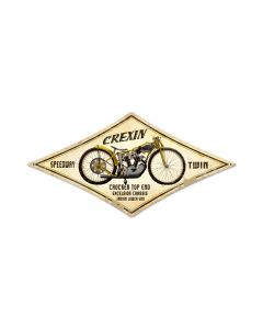 Crexin, Motorcycle, Diamond Metal Sign, 22 X 14 Inches