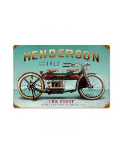 Henderson First, Motorcycle, Vintage Metal Sign, 18 X 12 Inches