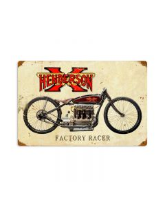 Henderson X, Motorcycle, Vintage Metal Sign, 18 X 12 Inches