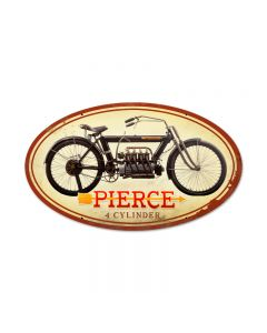 Pierce 4 Cylinder, Motorcycle, Oval Metal Sign, 24 X 14 Inches