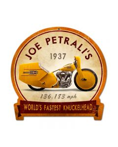 Joe Petrali, Motorcycle, Round Banner Metal Sign, 15 X 16 Inches