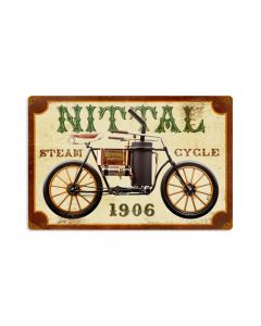 Nittal Steam Cycle, Motorcycle, Vintage Metal Sign, 18 X 12 Inches