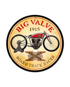 Excelsior Big Valve, Motorcycle, Round Metal Sign, 14 X 14 Inches