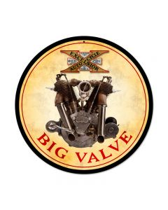 Big Valve Engine, Motorcycle, Round Metal Sign, 14 X 14 Inches