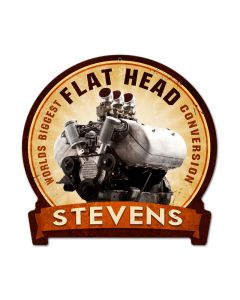 Flat Head Engine, Motorcycle, Round Banner Metal Sign, 15 X 16 Inches