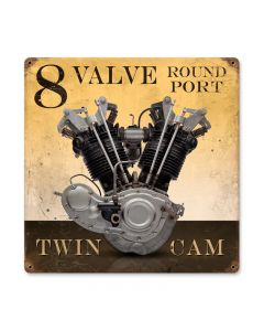 8 Valve Round Port, Motorcycle, Vintage Metal Sign, 12 X 12 Inches