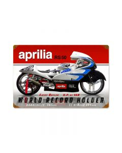 Aprilla World Record, Motorcycle, Vintage Metal Sign, 18 X 12 Inches
