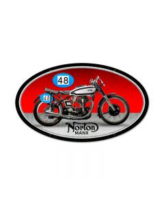 Norton Manx, Motorcycle, Oval Metal Sign, 24 X 14 Inches