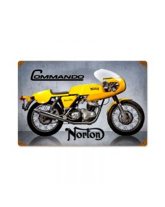 Commando, Motorcycle, Vintage Metal Sign, 18 X 12 Inches