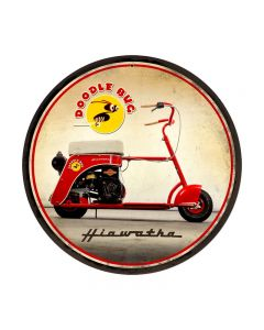 Doodle Bug, Motorcycle, Round Metal Sign, 14 X 14 Inches