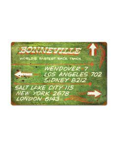 Bonneville Green Distance Sign, Automotive, Vintage Metal Sign, 24 X 16 Inches