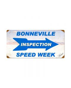 Bonneville Inspection Speed Week, Automotive, Vintage Metal Sign, 24 X 12 Inches