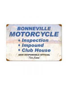 Bonneville Motorcycle Inspection, Automotive, Vintage Metal Sign, 24 X 16 Inches