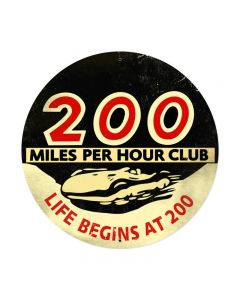 200 Mph Club XXL, Automotive, Round Metal Sign, 42 X 42 Inches