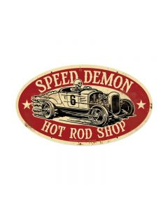 Speed Demon HRShop Oval, Automotive, Oval Metal Sign, 24 X 14 Inches