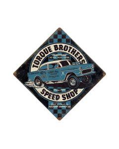 Torque Bros SpeedShop, Automotive, Vintage Metal Sign, 12 X 12 Inches