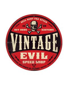 Vintage Evil red skull 28ƒ?, Automotive, Round Metal Sign, 28 X 28 Inches