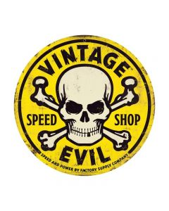 Vintage Evil yellow skull 28ƒ?, Automotive, Round Metal Sign, 28 X 28 Inches
