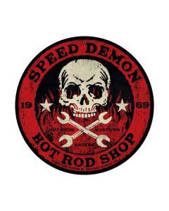 Speed Demon red skull 28ƒ?, Automotive, Round Metal Sign, 28 X 28 Inches