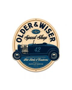 Older and Wiser Speed Shop vintage blue round 27ƒ?, Automotive, Custom Metal Shape, 24 X 27 Inches
