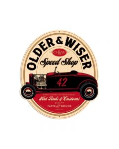 Older and Wiser Speed Shop vintage red round 27ƒ?, Automotive, Custom Metal Shape, 24 X 27 Inches