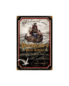 Pirate Academy, Humor, Vintage Metal Sign, 12 X 18 Inches