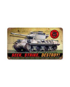 Seek Strike Destroy, Allied Military, Vintage Metal Sign, 8 X 14 Inches