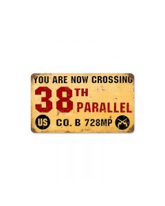 38th Parallel, Allied Military, Vintage Metal Sign, 8 X 14 Inches