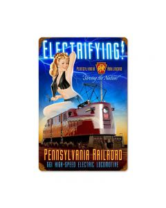 Pennsylvania Electric, Pinup Girls, Vintage Metal Sign, 18 X 12 Inches