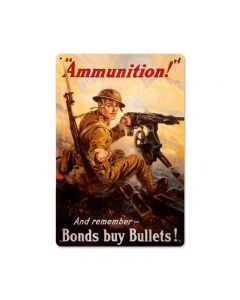 Ammunition, Allied Military, Vintage Metal Sign, 18 X 12 Inches