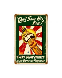 Every Blow Counts, Allied Military, Vintage Metal Sign, 18 X 12 Inches