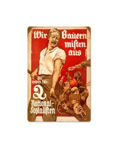 National Socialism, Axis Military, Vintage Metal Sign, 12 X 18 Inches