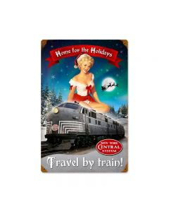 Christmas Train, Pinup Girls, Vintage Metal Sign, 12 X 18 Inches