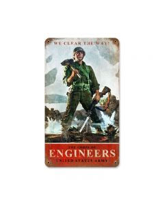 Army Corps Engineers, Allied Military, Vintage Metal Sign, 8 X 14 Inches