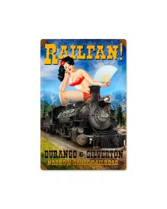 Railfan, Train and Rail, Vintage Metal Sign, 12 X 18 Inches