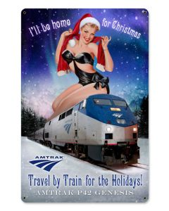 Amtrak Christmas Train, Metal Sign, Metal Sign, 12 X 18 Inches