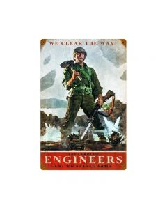 Army Corps Engineers, Allied Military, Vintage Metal Sign, 12 X 18 Inches