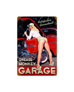 Grease Monkey Garage, Pinup Girls, Vintage Metal Sign, 12 X 18 Inches