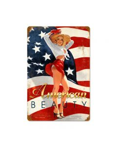 American Beauty, Pinup Girls, Vintage Metal Sign, 12 X 18 Inches