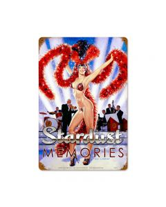 Stardust Memories, Pinup Girls, Vintage Metal Sign, 12 X 18 Inches