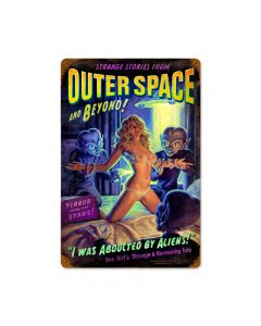 Alien Abduction, Pinup Girls, Vintage Metal Sign, 12 X 18 Inches
