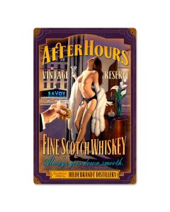 After Hours Scotch, Pinup Girls, Vintage Metal Sign, 12 X 18 Inches